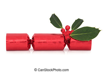 Christmas Cracker and Holly - Christmas cracker with holly...