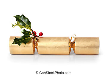 Christmas Cracker Decoration - Golden christmas cracker with...