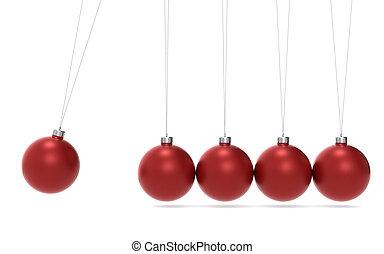 Christmas Cradle - Newtons cradle Christmas Edition. Green...