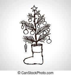 Christmas creative hand drawn fir tree & sock for xmas...