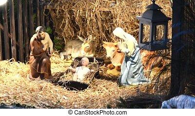 Christmas creche with Joseph Mary and Jesus - Christmas...