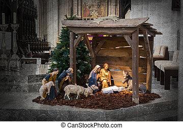 Christmas crib, before Christmas, the crib is empty