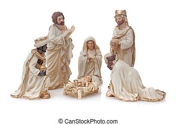 Christmas Crib isolated on white background.