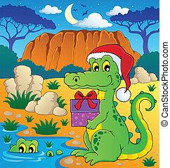 Christmas crocodile theme image 2