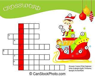 Christmas crossword for kids and toddlers. Elf sitting in Santa sleigh with gifts. Educational game for children.