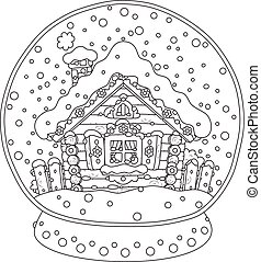 Christmas crystal ball with a snow-covered hut