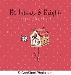 Christmas cuckoo clock cute cartoon greeting card - Merry...