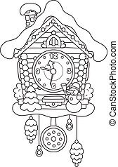 Christmas Cuckoo-Clock - Toy cuckoo clock with snow, snowman...