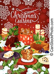 Christmas cuisine winter holiday dinner banner