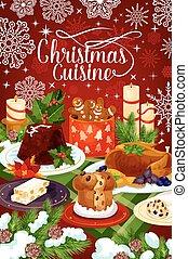 Christmas cuisine winter holiday dinner banner