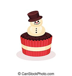 Christmas cupcake, traditional festive dessert vector Illustration on a white background