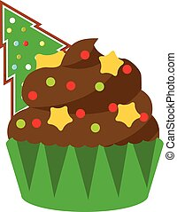 Christmas cupcake with green spruce gingerbread and stars. New Year food, bakery