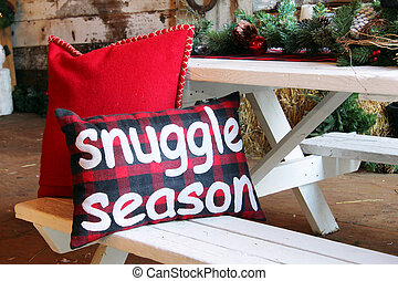 Christmas cushion that say snuggle season. - Christmas...