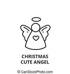 christmas cute angel line icon, outline sign, linear symbol, vector, flat illustration