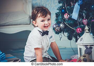 Christmas cute boy