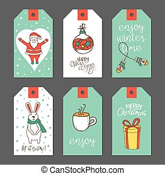 Christmas cute gift tags set