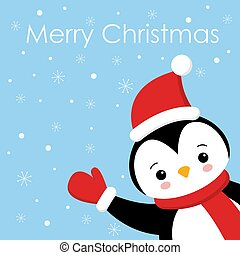 Christmas Cute Little Penguin with Santa s Cap. Christmas cute animal cartoon character. Greeting card