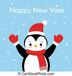 Christmas Cute Little Penguin with Santa s Cap. Christmas cute animal cartoon character.