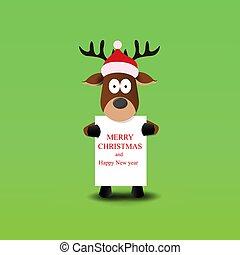 Christmas cute reindeer in Santa Claus hat