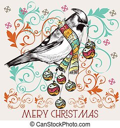 Christmas cute vector greeting card with bird in vintage style.eps