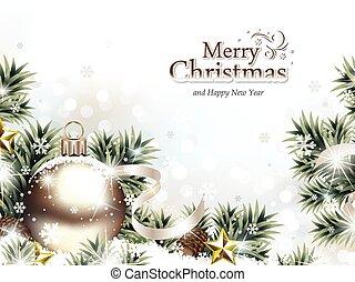 christmas díszít, alatt, a, hó