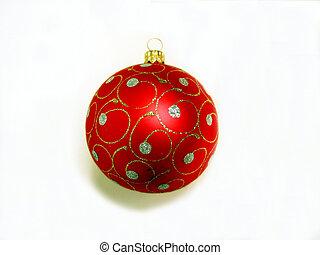 christmas díszít, -, piros labda