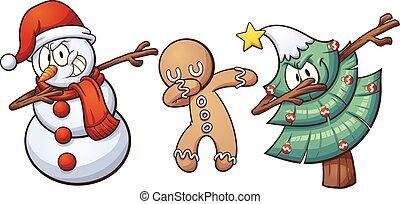 Christmas dabbing characters. Vector clip art illustration...