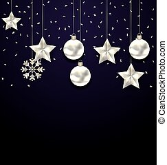 Christmas Dark Background with Silver Balls, Stars and Snowflakes.