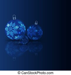 Christmas dark blue background with balls and graceful snowflakes