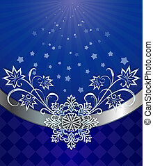 Christmas dark blue background with snowflake ornament.