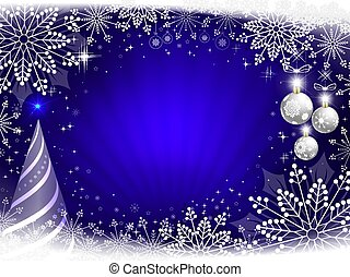 Christmas dark blue composition with beautiful white snowflakes, abstract striped Christmas tree and white balls.