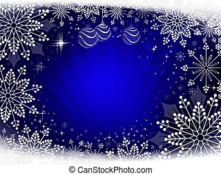 Christmas dark blue composition with beautiful white snowflakes.