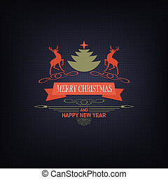 Christmas dark blue composition with deers, text and a Christmas tree.