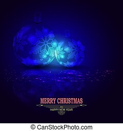 Christmas dark blue composition with two balls with snowflakes