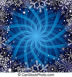 Christmas dark blue frame with snowflakes, stars and rays...