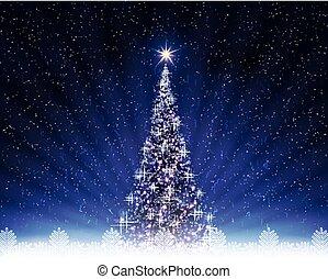 Christmas dark blue postcard with shiny Christmas tree.
