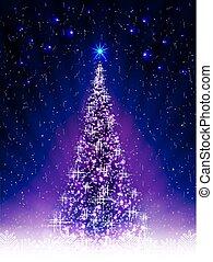 Christmas dark blue postcard with shiny Christmas tree, shiny balls.