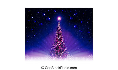 Christmas dark blue, purple postcard with a shiny Christmas tree, rays of light.