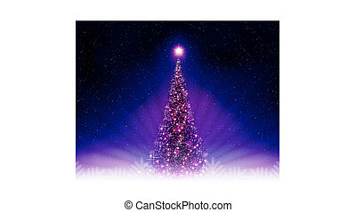 Christmas dark blue, purple postcard with shiny Christmas tree.