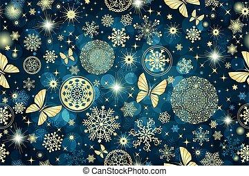 Christmas dark blue seamless pattern