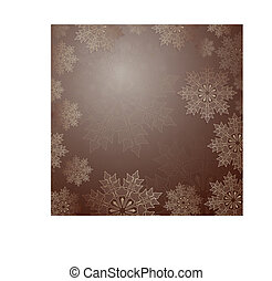 Christmas dark brown composition with a set of elegant snowflakes.