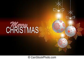 Christmas dark composition with Christmas white balls on pendants and snowflakes