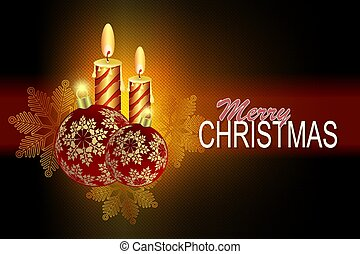 Christmas dark composition with red Christmas balls with snowflakes and two burning candles