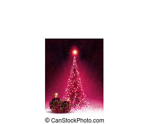 Christmas dark pink card with shiny Christmas tree and balls,