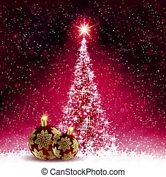 Christmas dark pink card with shiny Christmas tree and balls with golden snowflakes.