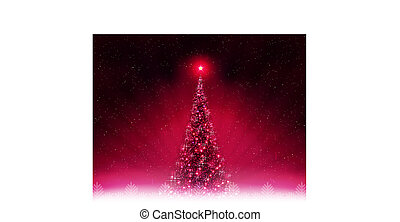 Christmas dark pink card with shiny Christmas tree.