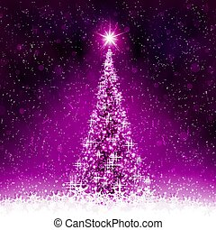 Christmas dark pink, purple postcard with shiny Christmas tree.