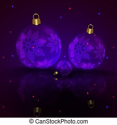 Christmas dark purple composition with balls and elegant snowflakes