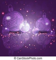 Christmas dark, purple design with glass balls