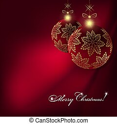 Christmas dark red background with balls with golden snowflakes on pendants